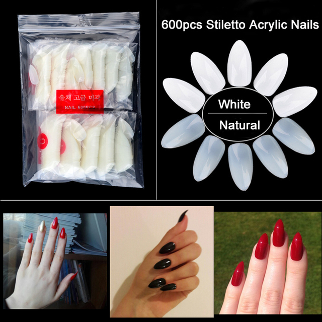 600pcs/pack Natural Clear False Nail Tips Oval Stiletto Sharp Full Nail tips Acrylic UV Gel Full Cover Nail Tips For Decoration