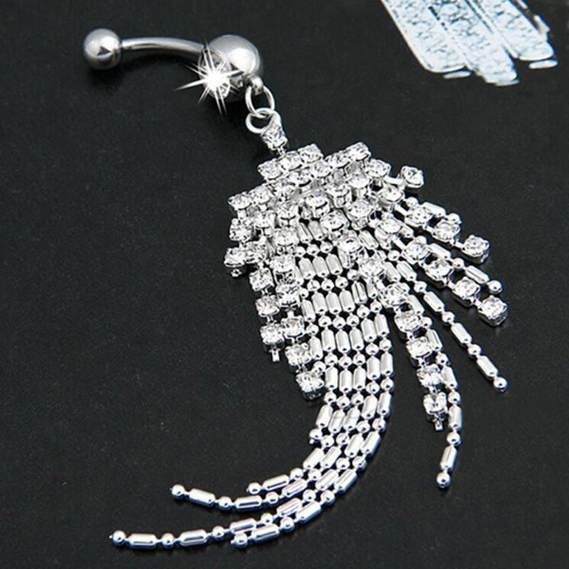 HTB1Q9pvOVXXXXbOaFXXq6xXFXXXd Womens Body Piercing Jewelry Navel Ring With Luxurious Crystal Chain Tassels