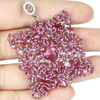 Long Big Pink Tourmaline, CZ SheCrown Woman's 925 Silver Pendant 56x38mm
