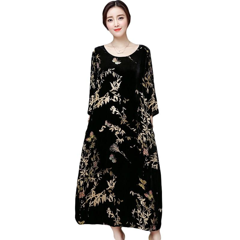 Women Autumn winter Dress Fashion printing Velvet Dress Floral black Loose Vintage Dress vestidos plus size
