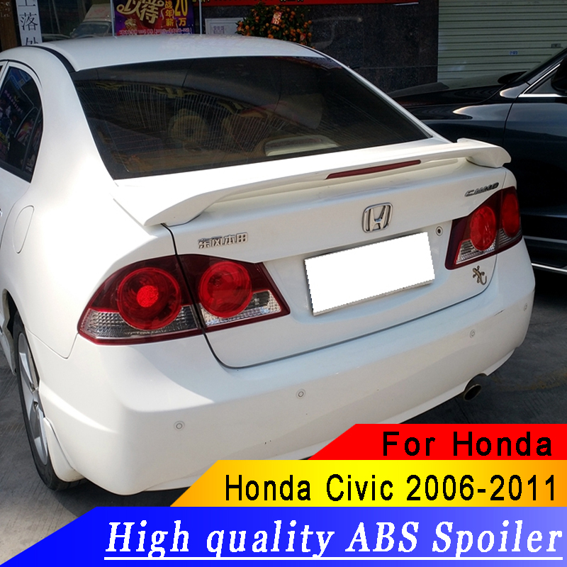 ABS material high quality spoiler For Honda Civic 2006 2011 primer or red or black or