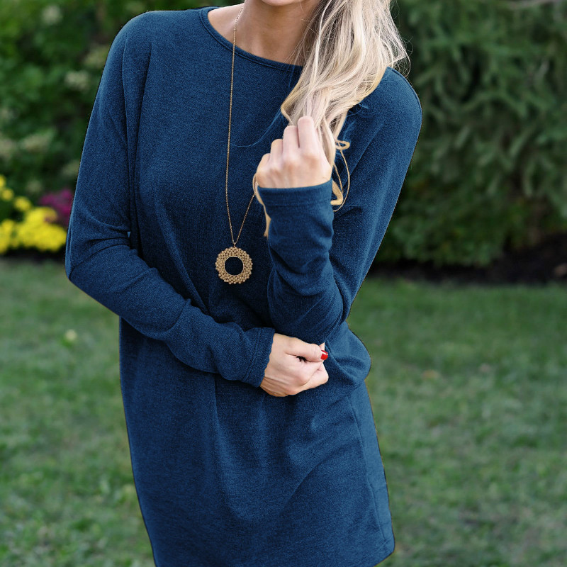 Solid Knitted Women Dresses 2018 Winter Long Sleeve O-neck Loose Dress Female Casual Dress Plus Size Pullovers Dress GV300 plain loose long sleeve plus size dress