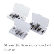 Wholesale 50pcs/Box Fishing Hook Sharpened Treble Hook Size 2/4/6/8/10 Fishhook Tackle New Silver/Black/Brown Color Optional