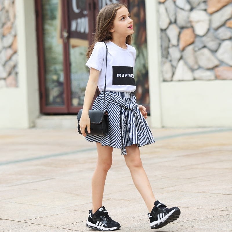 [Pre-Sale] Little Girls Skirts Sets 2 pieces Short Sleeve T shirt Striped Skirts Teenage Girls Clothing Sets 10 12 14 15 years 2018 spring girls clothing sets baby teenage kids girls clothes denim coats skirts long sleeve suits outwear 8 10 12 14 years