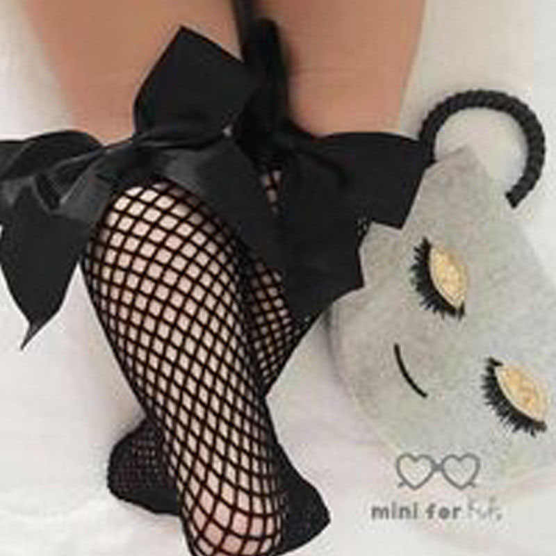 Baby Girls Kids Mesh Socks 2019 new Bow Fishnet Ankle High socks Lace Fish Net Vintage back bow Short Sock girl new Summer wear