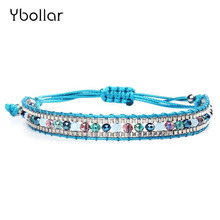 1pc Fashion Nylon Cord Woven Rice Beads Bracelets With Seed beads Adjustable Handmade Charm Women Jewelry