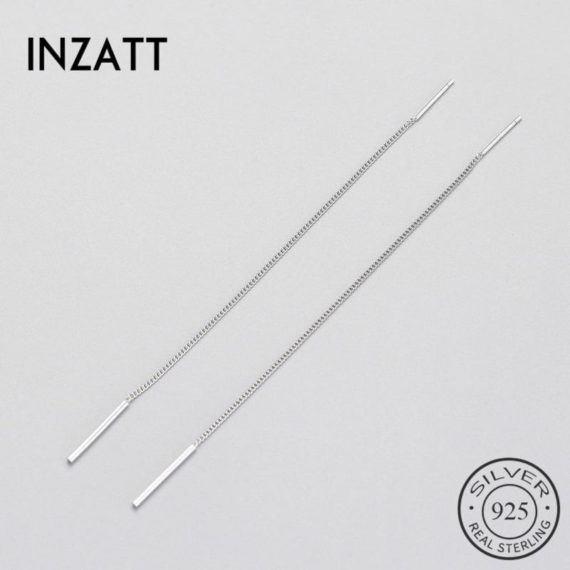 INZATT  Trendy Real 925 Sterling Silver Dangle Drop Earrings Minimalist Long Tassel Chain Fine  Jewelry For Women Gift
