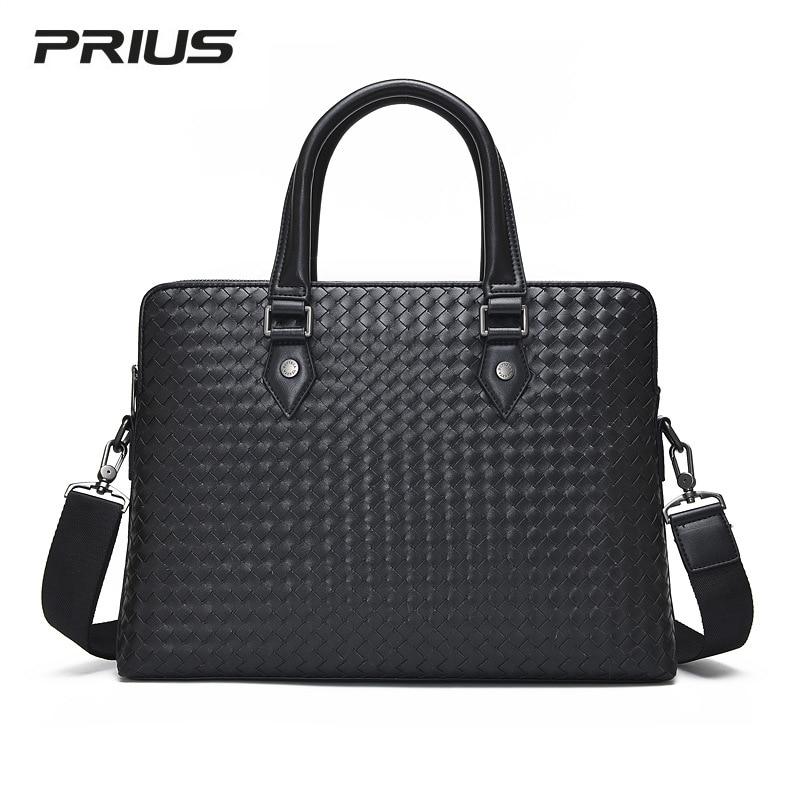 все цены на New Sashion Men Shoulder Bag Genuine Leather Woven Bag Double Zipper High Capacity Briefcase Business Computer Bag Men Handbag онлайн
