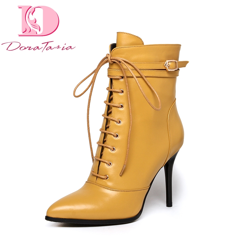 Doratasia brand design wholesale genuine leather big size 43 thin High Heels Ankle Boots Women Shoes Woman Shoes BootsDoratasia brand design wholesale genuine leather big size 43 thin High Heels Ankle Boots Women Shoes Woman Shoes Boots