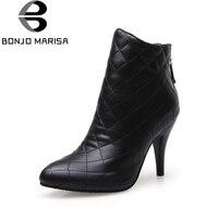 BONJOMARISA Large Size 32 48 customization thin high heels ankle boots shoes women white black fashion shoes woman