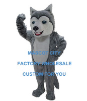 Grey Husky Mascot Costume Adult Size Cartoon Character Mascotte Outfit Suit Fancy Dress Carnival Party Cosply Costumes SW737