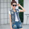 Women Summer Denim Vest Casual Vintage Jacket 2016 Sleeveless Waistcoat Autumn Jean Vest For Ladies YL555