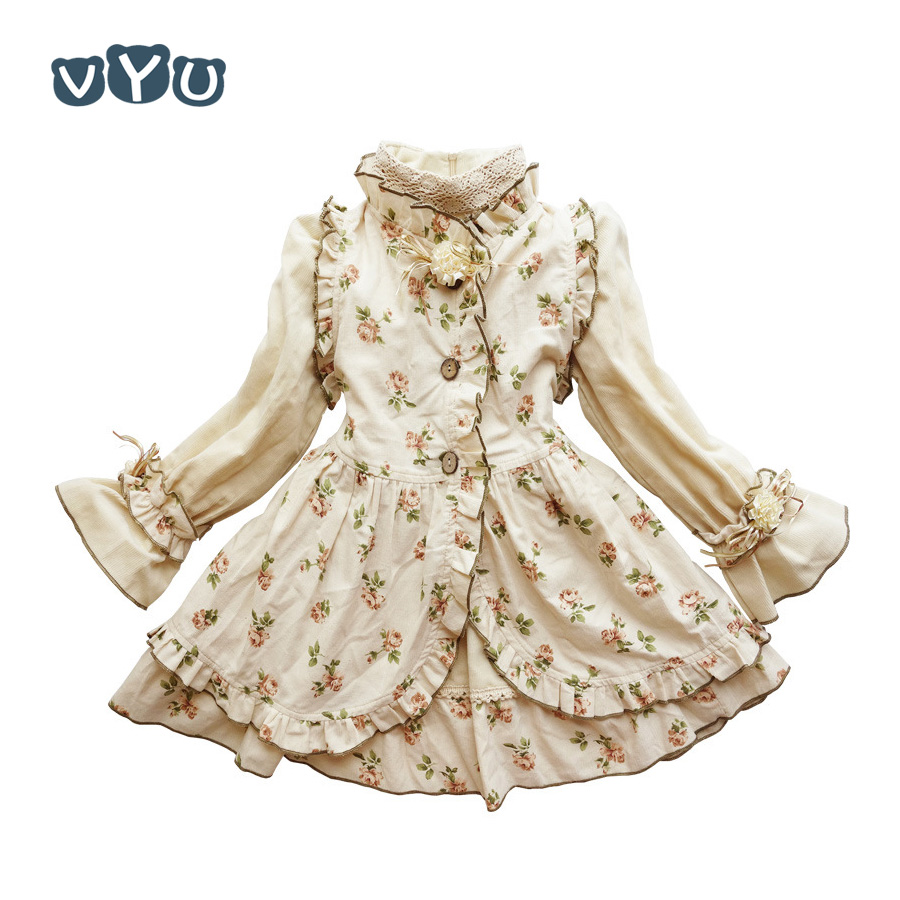 VYU Autumn Girls Clothing Suits in 2 Pieces Girl Princess Vintage Noble Cold Dress Christmas Children Clothes Floral Costume