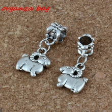 50pcs/lot Dangle Ancient silver sheep Charm Big Hole Beads Fit European Bracelet Jewelry 12x27mm A-227a