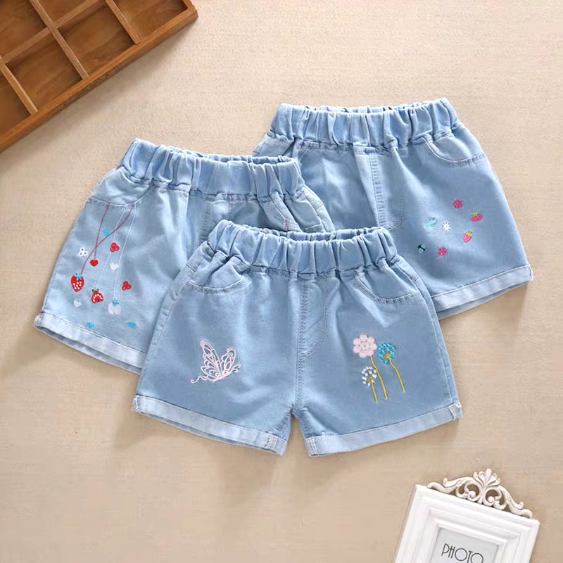 toddler   shorts   Girls denim   shorts   in the summer big children thin section wild little girl fashion wear children's hole hot pant