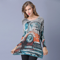2019 New Arrivals Wool Sweater Women Graffiti Art Print Knitted Sweaters Casual Plus Size Fashion Batwing Sleeve Long Pullovers
