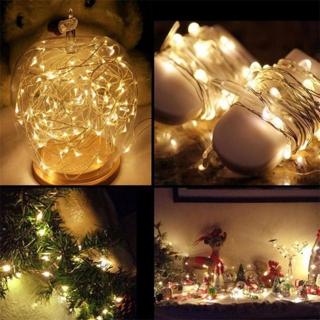 Christmas Wedding Decoration Battery Operated LED Starry String Fairy Lights Led garland Micro Copper Wire waterproof Warm White