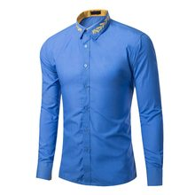 HEFLASHOR 2018 Brand New Men Gold Embroidery Shirt Men Dress Long Sleeve Slim Fit Retro Shirts Male Turn-down Collar Black Shirt(China)