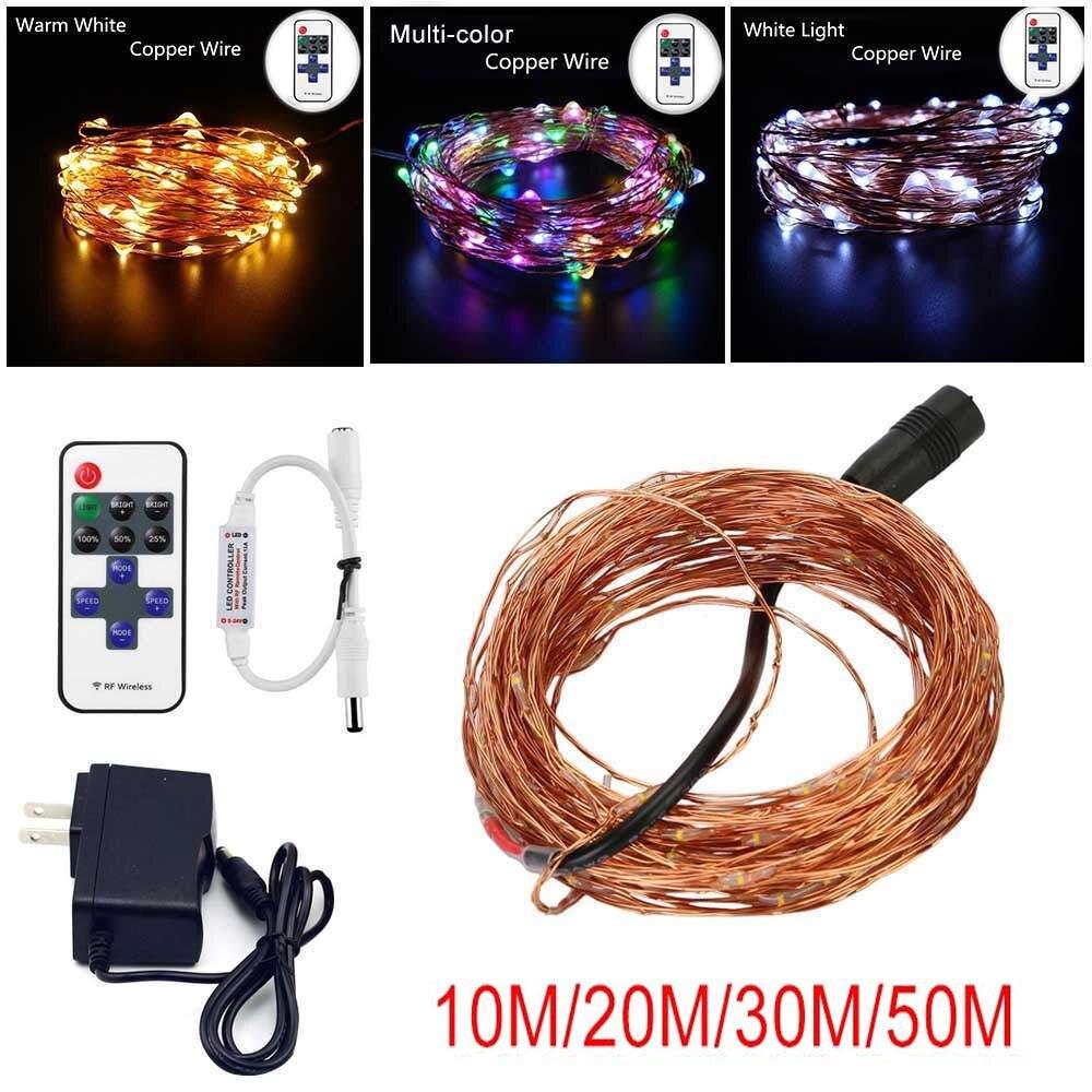 33FT 10 M/20 M/30 M/50 M DC12V LED String Fio De Cobre De Prata Fada Cordas decoração de casamento luzes de natal Ao Ar Livre Indoor