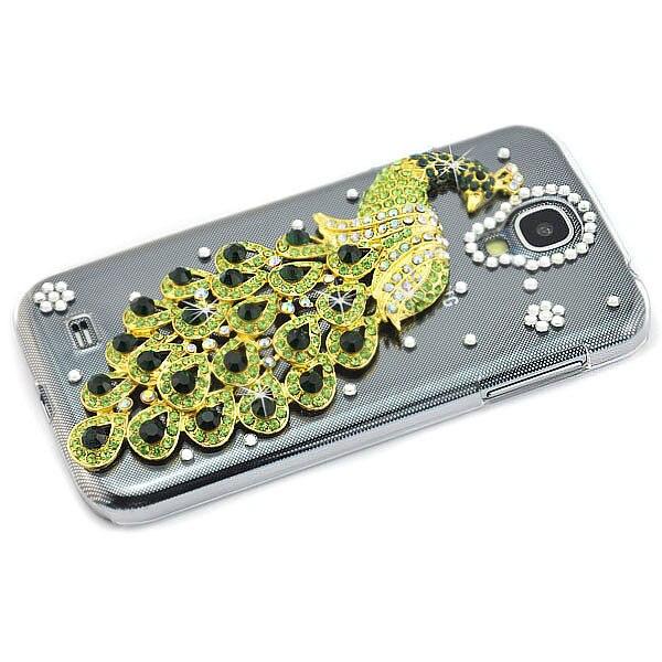 3d handmade bling diamond peacock crystal case cover for samsung