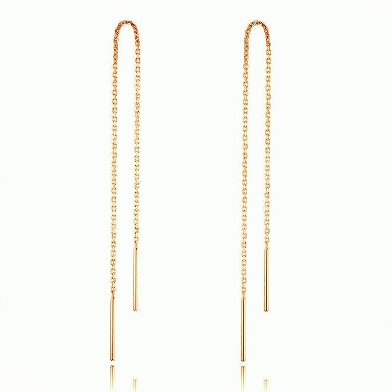 Винтажные Простые Длинные серьги в форме линии уха, цепочка для женщин, розовое золото, серебро, ювелирное изделие, модные ювелирные изделия...