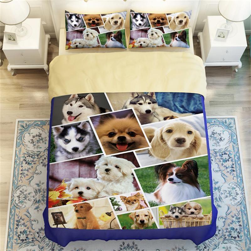 3d Animals Cute Dog Print Kids Bedding Set Twin Queen King Size Flat Bed Sheet Duvet Cover Pillowcasse Golden Retriever Husky In Bedding Sets From