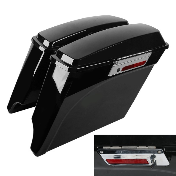 5 Vivid Black Stretched Extended Hard Saddlebags Trunk For Harley Electra Glide Road Glide FLH FLT 93-13 Harley Touring Model abs hard saddlebags latch keys for harley road king electra street glide 14 18
