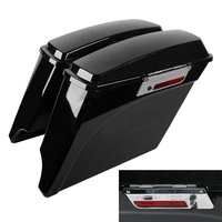 5 Vivid Black Stretched Extended Hard Saddlebags Trunk For Harley Electra Glide Road Glide FLH FLT 93 13 Touring Model