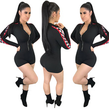 7fbcfa4cca 2018 Summer Zipper Racing Jumpsuit Casual Ladies Plaid Print Retro Rompers  Women Sexy Long sleeve Bodycon
