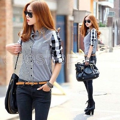 Plaid Turn Down Collar   Shirt   Tops 2018 New Spring Autumn arrival Women Loose Long Sleeve   Blouses   Chiffon