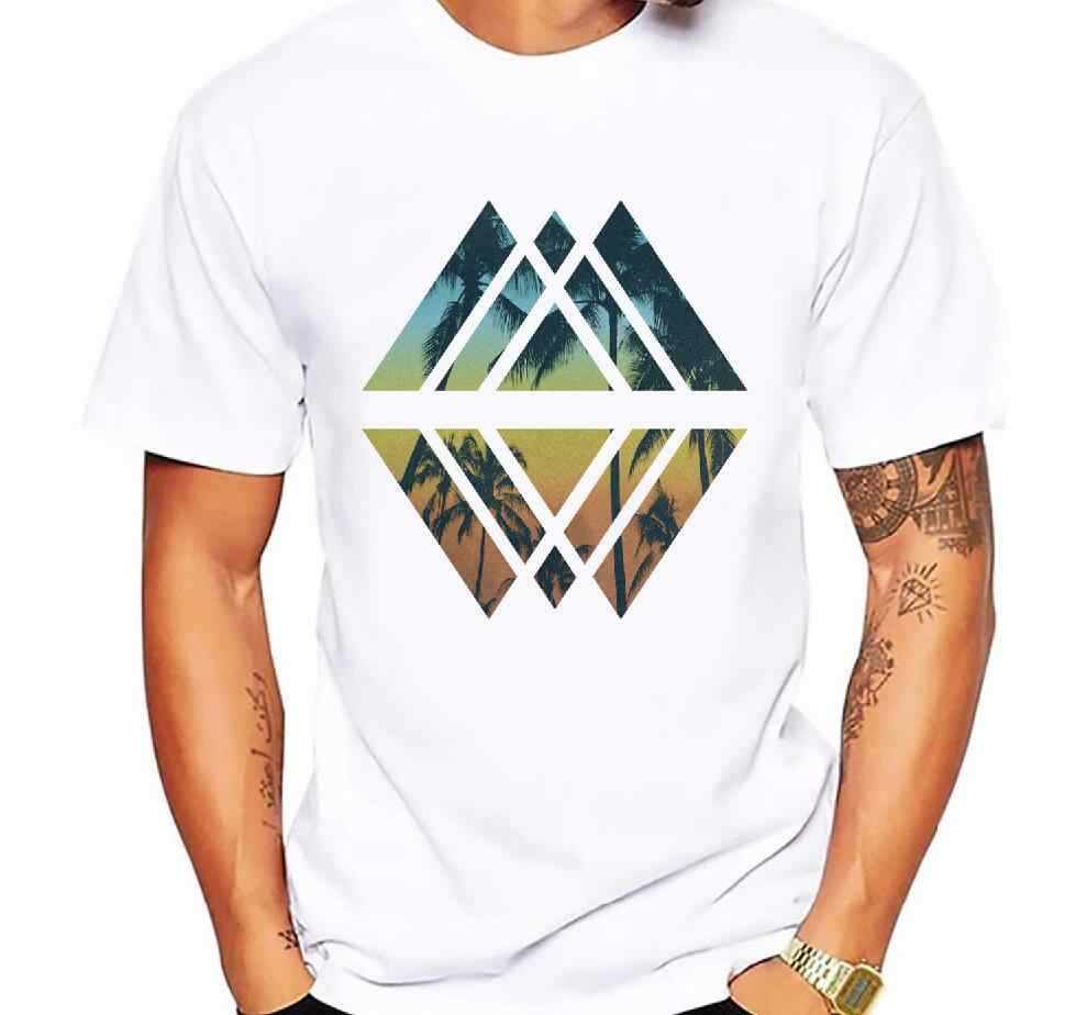 Men's T-shirt with cool shape Palm Trees and Geometric Tropical Beach print shirt men tshirt summer fashion short-sleeved tee