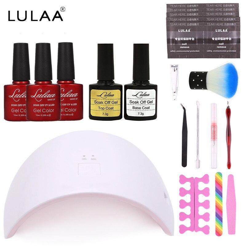 Lulaa Top Coat and Base Coat Nail Polish Manicure Tools Set + Nail Art Set 3 Color Gel Nail + UV/LED Lamp + Other Tools Set