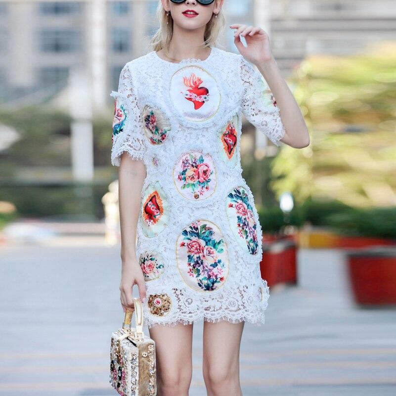 Wysokiej jakości 2019 nowy projektant mody letnia sukienka damska z krótkim rękawem w stylu Vintage kwiat drukuj aplikacje eleganckie szczupła koronkowa sukienka w Suknie od Odzież damska na  Grupa 3