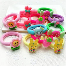 Fashion 10pcs/lot Candy Colored Quality Elastic Cartoon Ponytail Holders Accessories Girl Women Rubber Bands Tie Gum(Mix Color)(China)