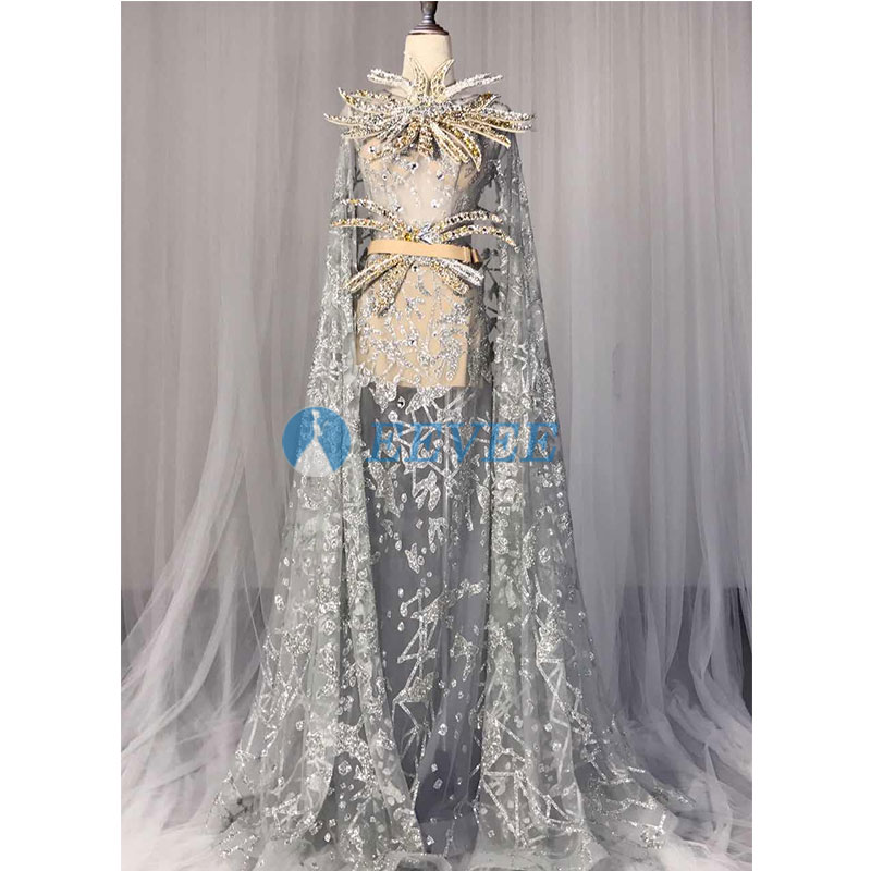 Sexy Shining Sequins Evening Dress Perspective Long shawl Long Dresses Female Singer Mesh Stage Wear Costume Nightclub Show