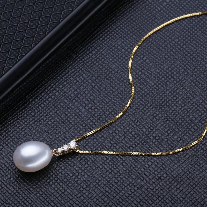 FENASY 18 k or boucles d'oreilles perle bijoux 18 K or pendentif perle bijoux colliers pendentif pour les amoureux envoyer S925 collier en argent - 3