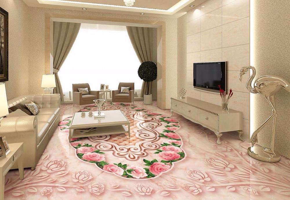 3d flooring Rose marble relief 3D stereo floor waterproof wallpaper for bathroom 3d floor 3d wallpaper wall sticker customized 3d floor tiles for livingroom welcome song marble stone relief floor wallpaper