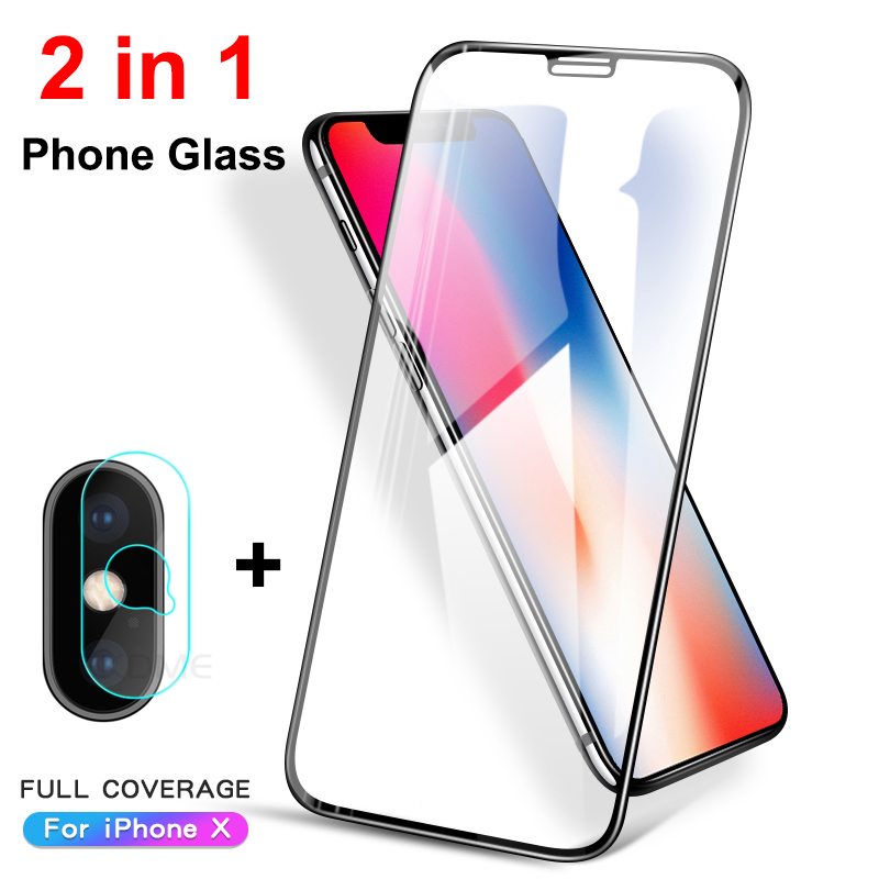 2 In 1 Full Cover Tempered Glass For IPhone XR XS Max X 10 Back Camera Lens Protector Film For IPhone XS XR X Protective Glass