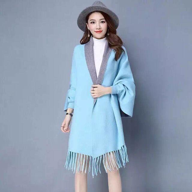SC2 большой шарф Зимний вязаный пончо женский однотонный дизайнерский плащ женский длинный рукав летучая мышь пальто винтажная шаль - Цвет: Blue With Grey