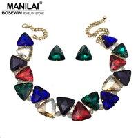 Manilai الأزياء والمجوهرات مجموعة ل مثلث كبير كريستال المختنقون القلائد بيان القرط مجموعات الزفاف الراين multicolor