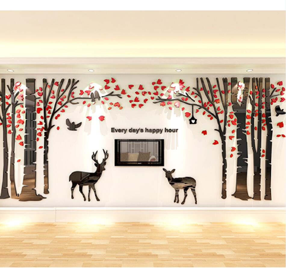 Pegatina de pared tridimensional grande Forest Deer Living Room Sofa - Decoración del hogar - foto 3