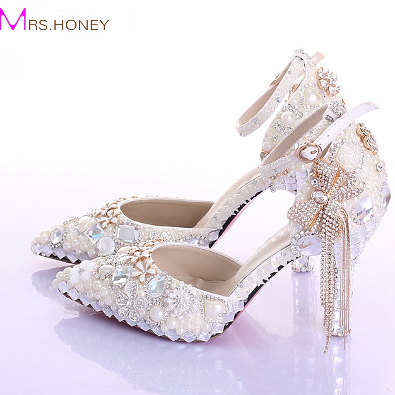 Pointed Toe Ankle Strap Boots Bridal Shoes Ivory Pearl Wedding Party Dress Shoes Rhinestone Pumps for Wedding Events Prom Shoes womens fashion handmade ankle strap pointed toe party wedding flats shoes cke119