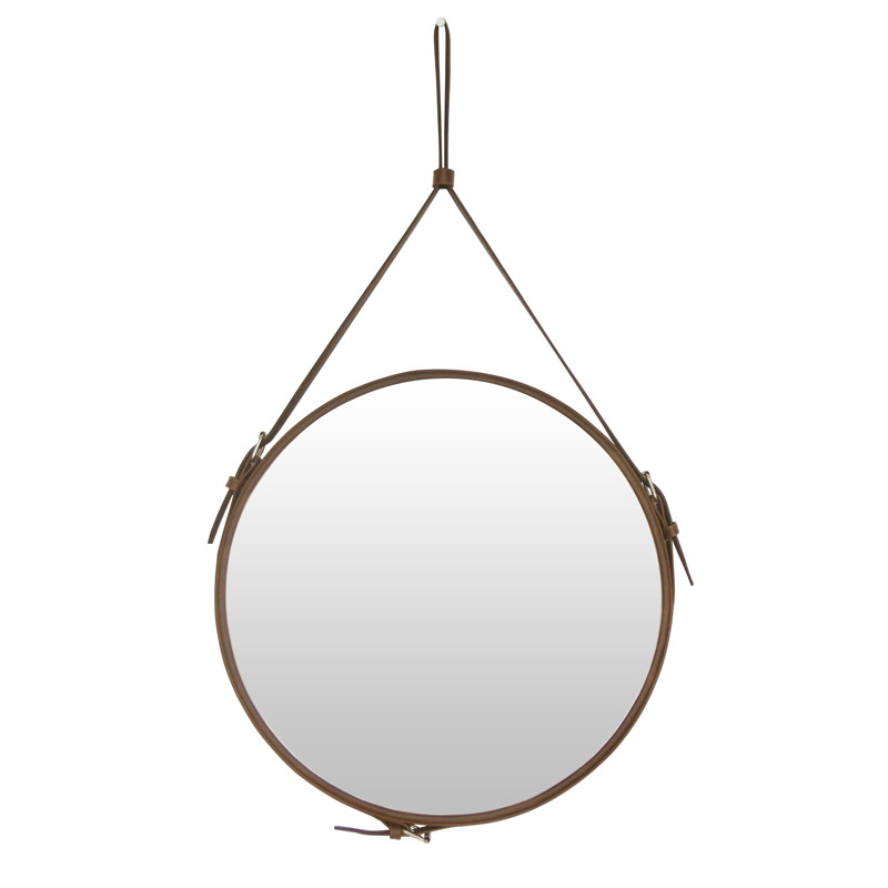 Creative Round belt hanging mirror bathroom PU leather frame makeup mirror hotel home decoration wall mirror