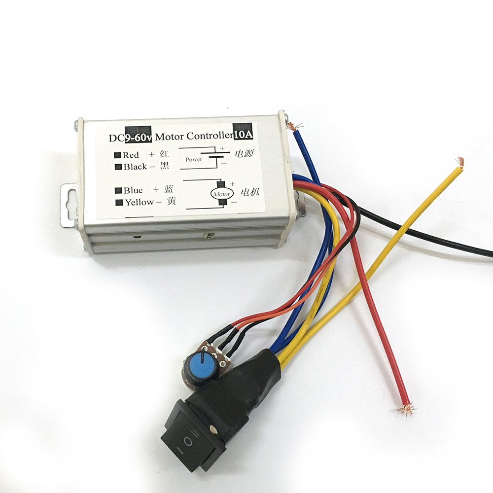 EBOWAN DC 9v 12v 24v 36v 48v 60v 10A 600W PWM DC Motor Forward Reverse Control Switch Motor Speed Controller Regulator image