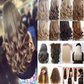 """18-26"""" 45-66CM 100% Natural Real Synthetic Hair Extention One Piece 3/4 Full Head Hairpiece Clip in Hair Extensions Curly Wavy"""