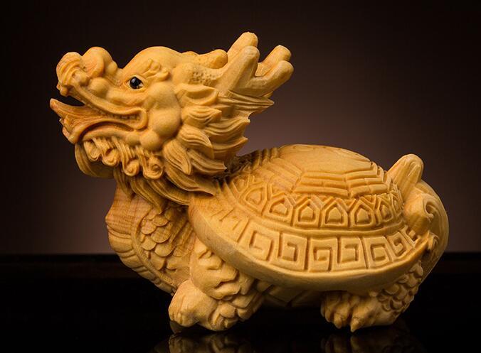Peuplier bois huit diagrammes dragon tortue sculpture sur bois mignon poche lapin jaune peuplier sculptures décoration de la maison statue