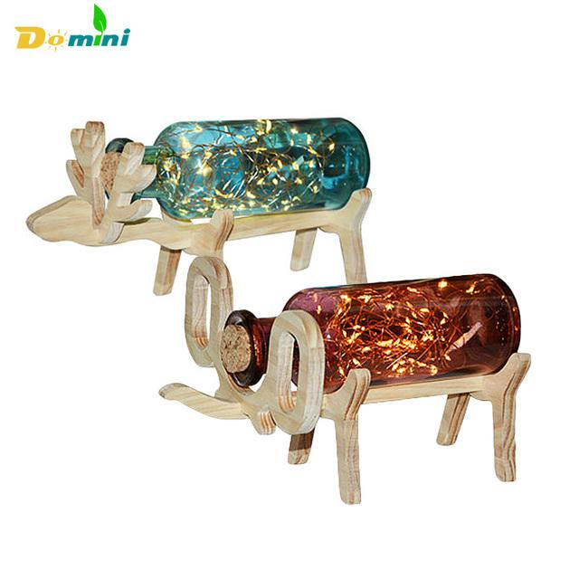 Animal Forma de Fio de Cobre LED Luzes Da Noite de Natal Presente de Aniversário Luz da corda Garrafa de Vidro Candeeiros De Mesa USB 5 V USB Noite lâmpadas