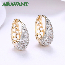 New Collection Earrings For Women Champagne Gold Color Hoop Earring CZ Cubic Zirconia Earrings Jewelry misananryne design siliver gold color aaa cz wedding hoop earrings for women women s trendy pink blue cubic zirconia earring