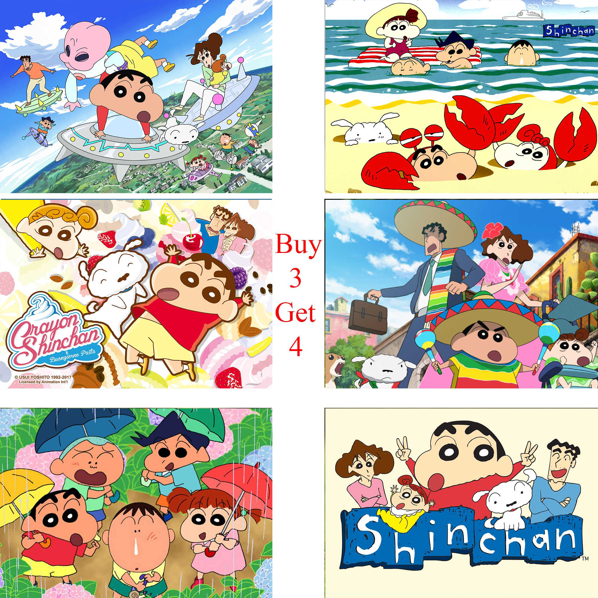 Posters Crayon Shin Chan Classic Japanese Anime White Coated Paper Prints Clear Image Home Decoration Home Art Brand