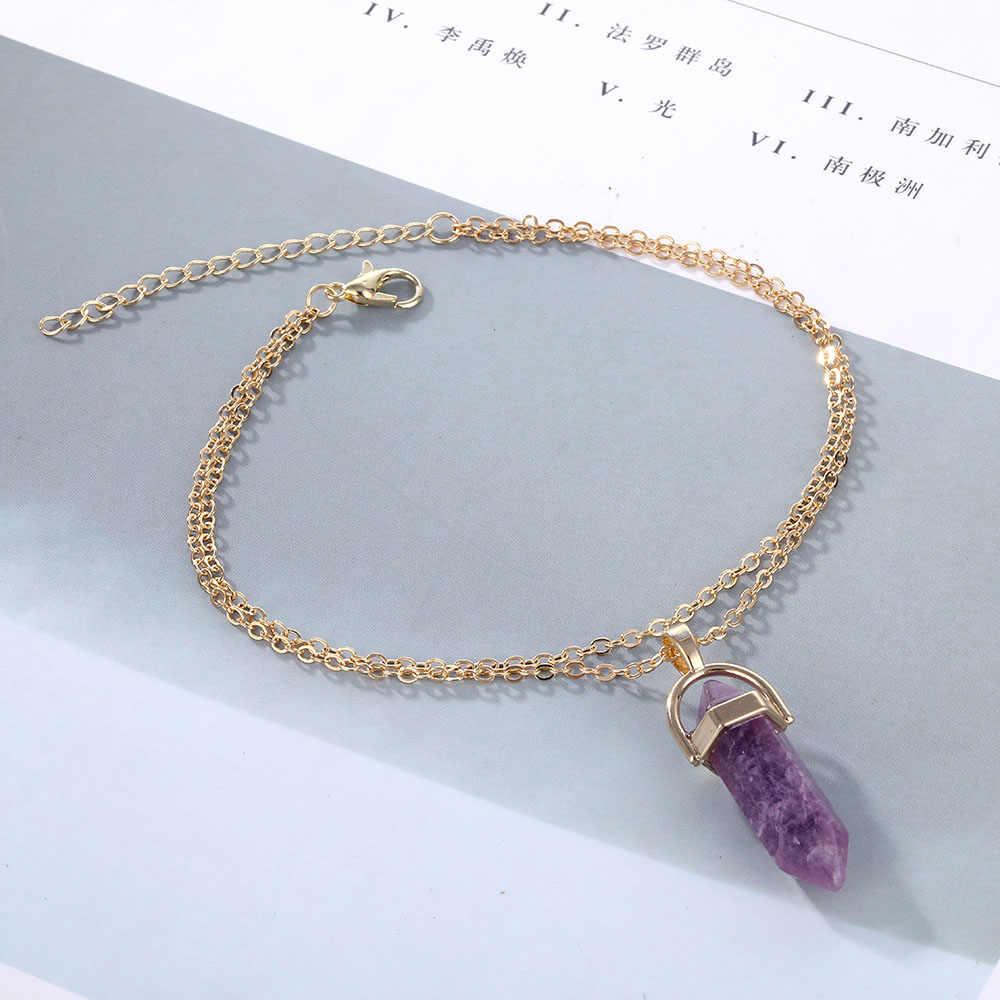 VKME Opal bransoletka na kostkę 2019 panie nowy naturalny kryształ wisiorek bransoletka na kostkę czeskie nogi, starsze prezenty
